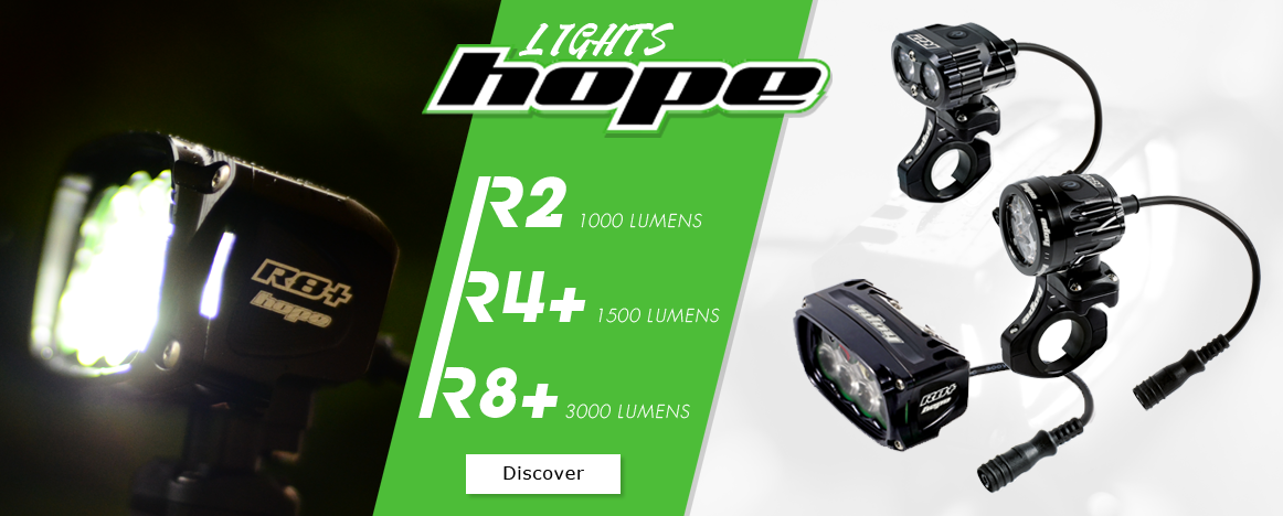 Powerfull Hope bike lights are available right now on Purebike