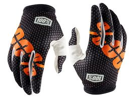 100% iTrack Gloves - Charcoal Grey and Orange 2018