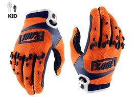 100% Airmatic Youth Gloves - Orange and Blue 2018