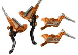 Hope Tech 3 E4 disc brake set without rotor and adapter Orange 2017