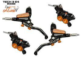 Hope Tech 3 E4 Pur'Edition disc brake set Black / Orange - Braided hose 2018