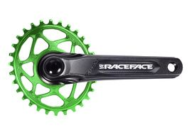 Race Face Aeffect Cinch DM Crankset + Absolute Black Oval Ring Green 2021