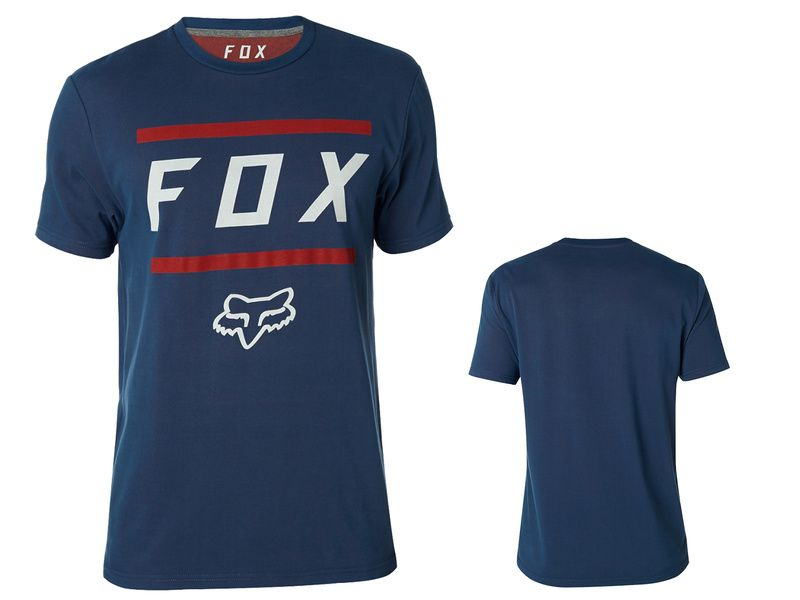 Fox Listless Airline Short Sleeve Tee Shirt - Blue and Red 2018