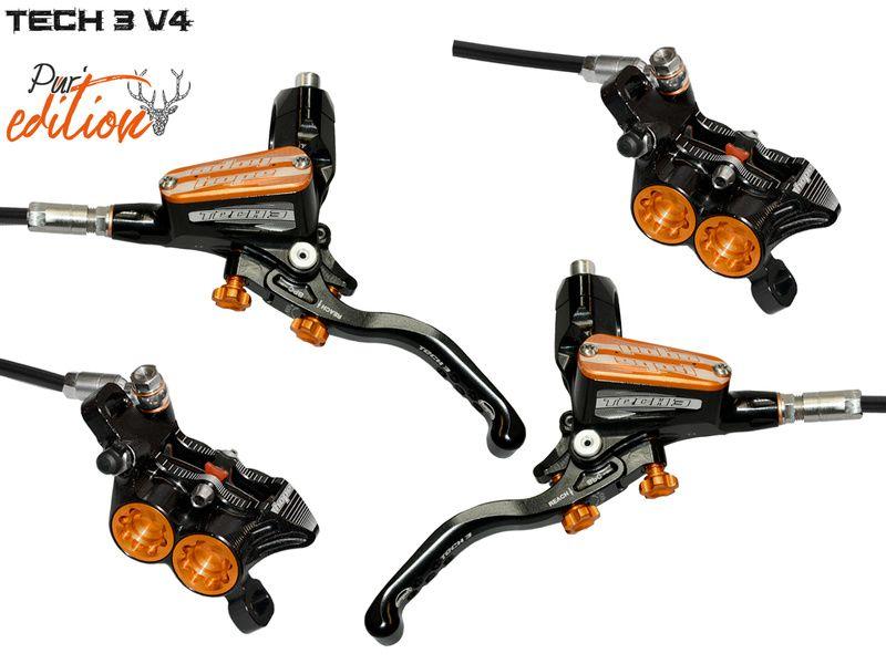 Hope Tech 3 V4 disc brake set Pur'Edition Black / Orange - Standard 2020